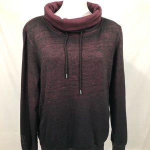 Guess cowl funnel neck sweater zip purple black m